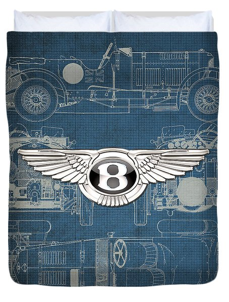 Bentley - 3 D Badge Over 1930 Bentley 4.5 Liter Blower Vintage Blueprint Duvet Cover by Serge Averbukh