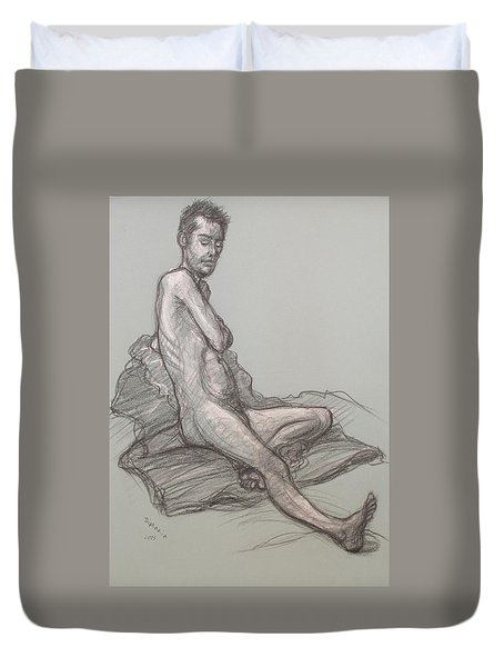 Duvet Cover featuring the drawing Bert Seated by Donelli  DiMaria
