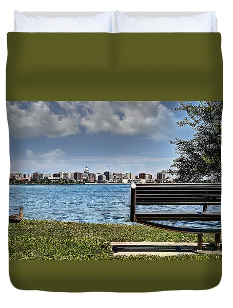 Duvet Cover featuring the photograph Best Seat In The House by Deborah Klubertanz