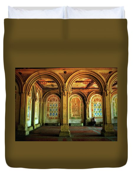Duvet Cover featuring the photograph Bethesda Terrace Arcade by Jessica Jenney