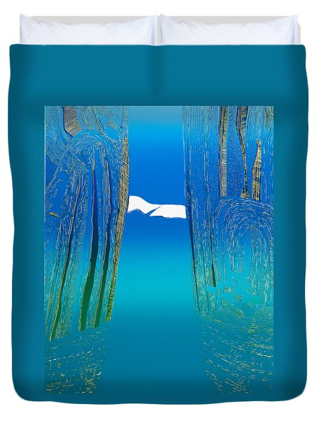 Between Two Mountains. Duvet Cover by Jarle Rosseland