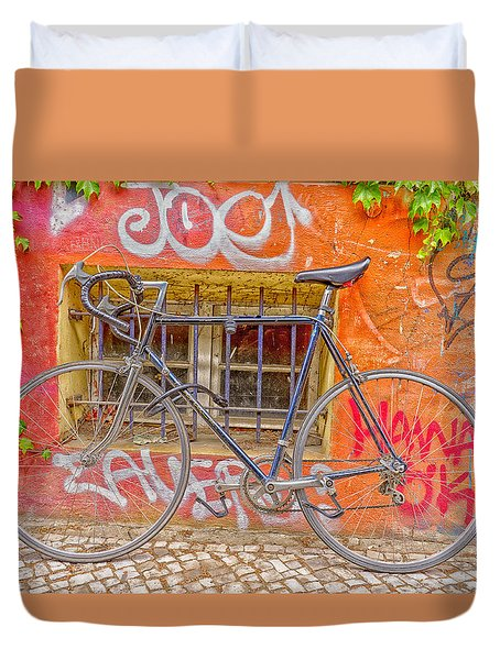 Duvet Cover featuring the photograph Bicycles by Uri Baruch