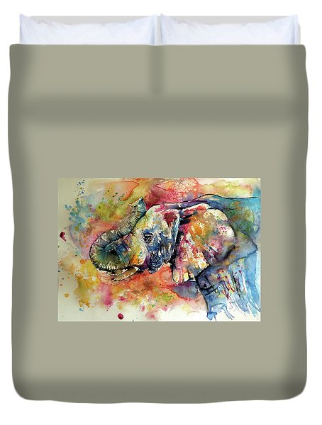 Big Colorful Elephant Duvet Cover