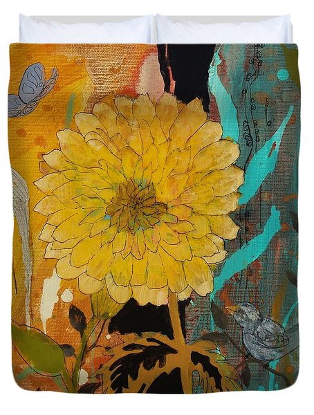 Duvet Cover featuring the painting Big Yella by Robin Maria Pedrero
