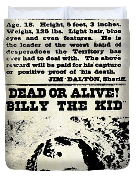 Billy The Kid Wanted Poster Duvet Cover