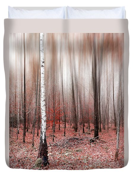 Duvet Cover featuring the photograph Birchforest In Fall by Hannes Cmarits