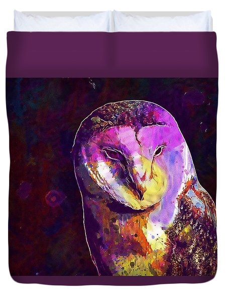 Duvet Cover featuring the digital art Bird Barn Owl Owl Barn Animal  by PixBreak Art