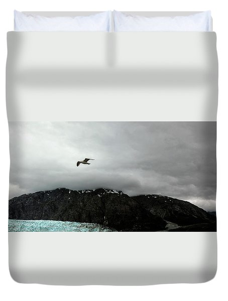 Duvet Cover featuring the photograph Bird Over Glacier - Alaska by Madeline Ellis