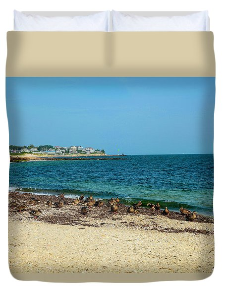 Duvet Cover featuring the photograph Birds On The Beach by Madeline Ellis