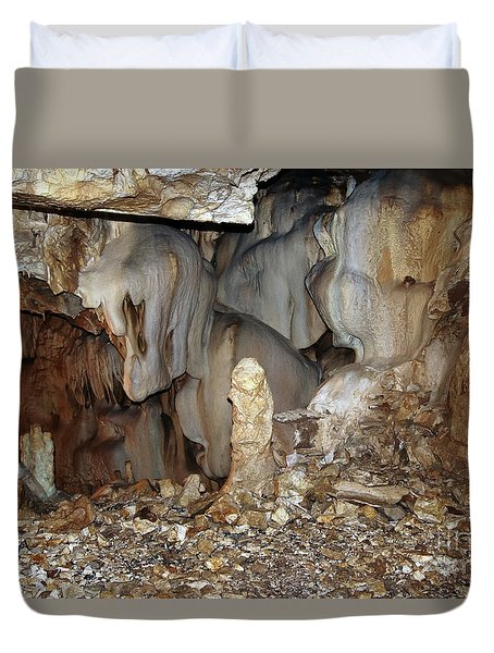 Duvet Cover featuring the photograph Bizarre Mineral Formations In Stalactite Cavern by Michal Boubin