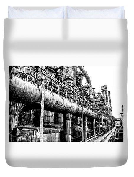 Black And White - Bethlehem Steel Mill Duvet Cover by Bill Cannon