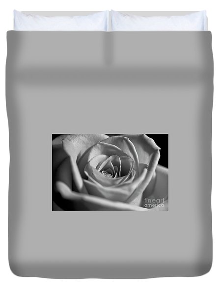 Duvet Cover featuring the photograph Black And White Rose by Micah May