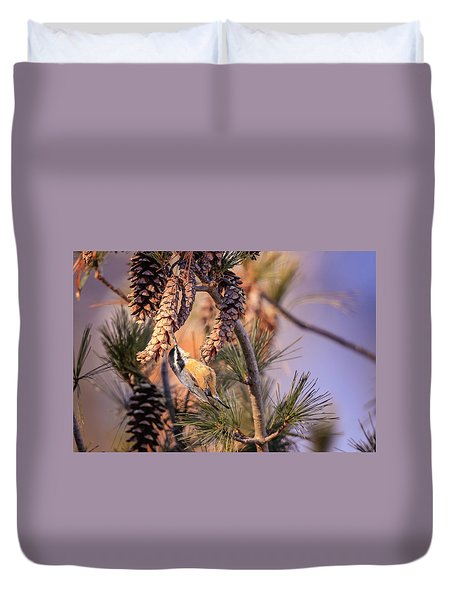 Duvet Cover featuring the photograph Black-capped Chickadee by Peter Lakomy