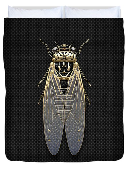 Black Cicada With Gold Accents On Black Canvas Duvet Cover by Serge Averbukh