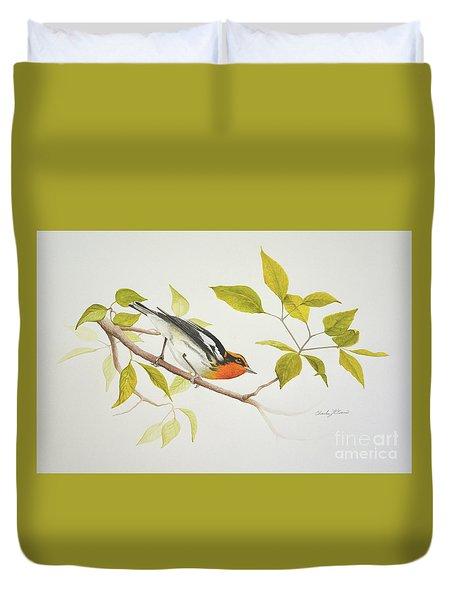 Blackburnian Warbler Duvet Cover