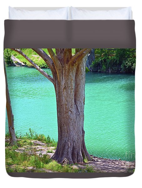 Blanco River Texas Duvet Cover by Ray Shrewsberry