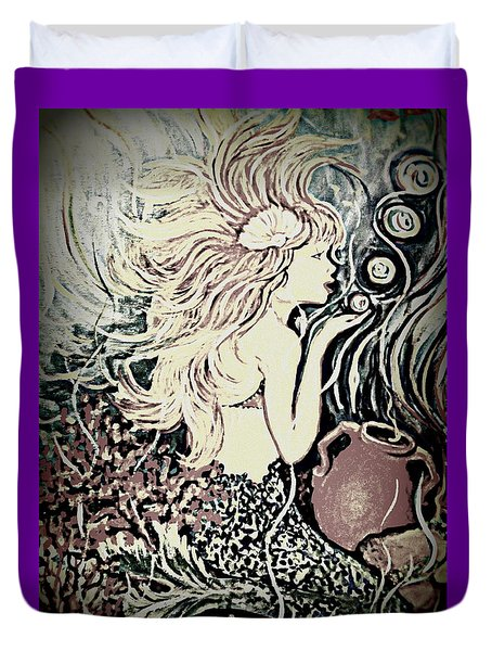 Blowing Bubbles Duvet Cover by Yolanda Rodriguez