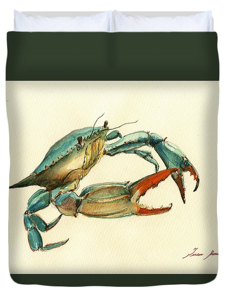 Blue Crab Painting Duvet Cover