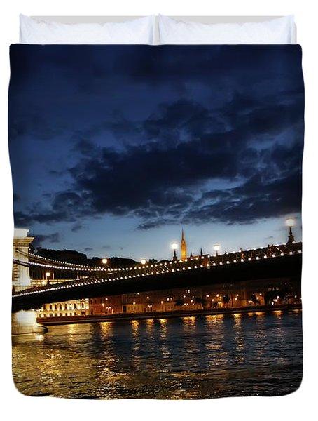 Blue Danube Sunset Budapest Duvet Cover