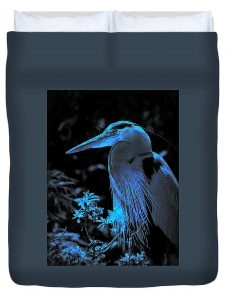 Duvet Cover featuring the photograph Blue Heron by Lori Seaman