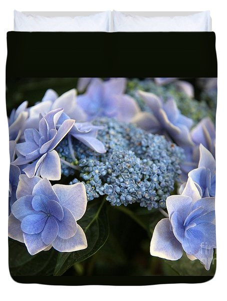 Duvet Cover featuring the photograph Blue Hydrangea by Yumi Johnson