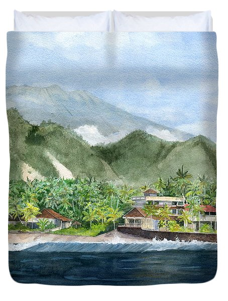 Duvet Cover featuring the painting Blue Lagoon Bali Indonesia by Melly Terpening