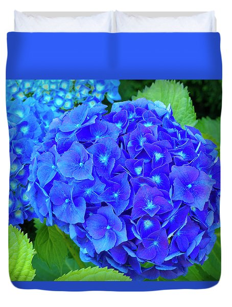 Blue Mophead Hydrangea Duvet Cover