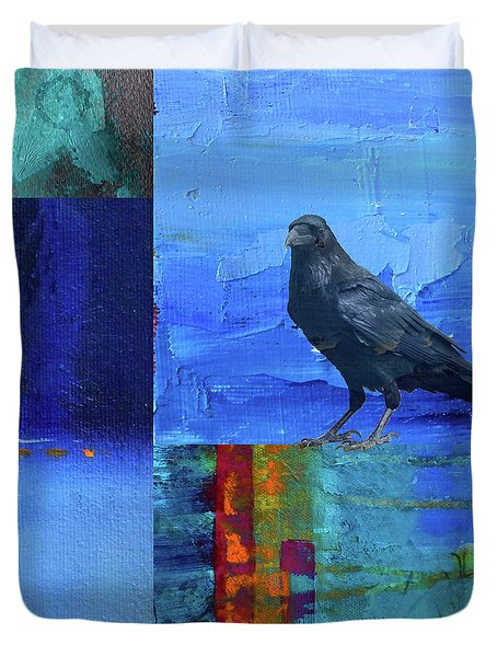 Blue Raven Duvet Cover by Nancy Merkle