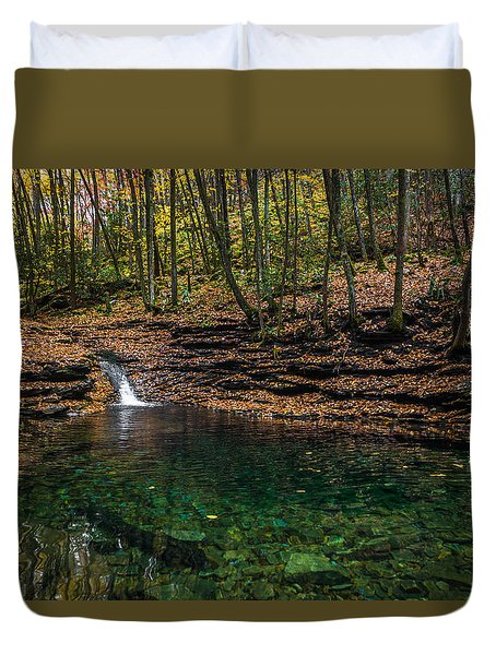 Blue Ridge Cascade Duvet Cover by Serge Skiba