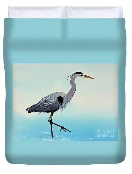 Duvet Cover featuring the painting Blue Water Heron by James Williamson