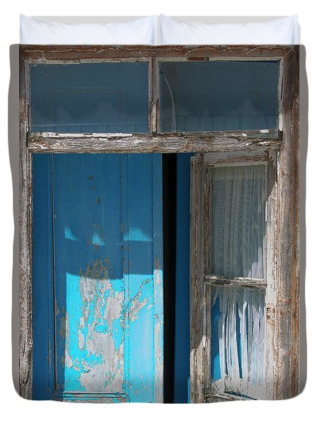 Blue Window Duvet Cover by Edgar Laureano