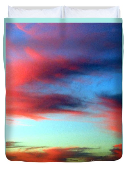 Duvet Cover featuring the photograph Blushed Sky by Linda Hollis