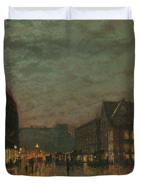 Boar Lane Leeds By Lamplight Duvet Cover