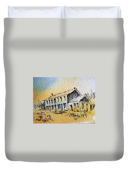Boardinghouse Cable Ghost Town Montana Duvet Cover by Kevin Heaney