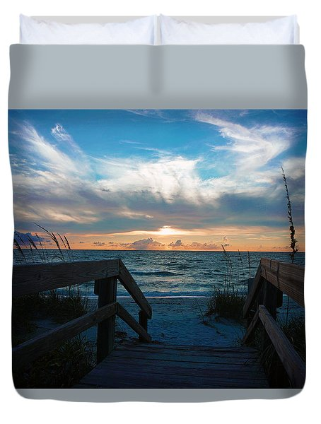 Boardwalk At Delnor-wiggins Pass State Park Duvet Cover