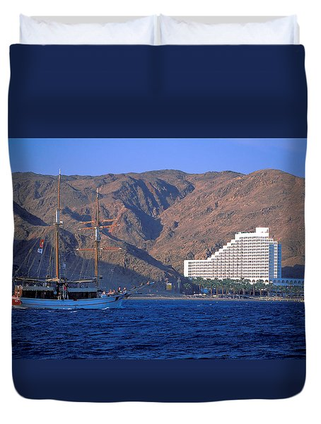 Boat Approches Eliat On The Red Sea Duvet Cover