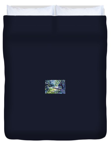 Duvet Cover featuring the painting Boat by Kovacs Anna Brigitta