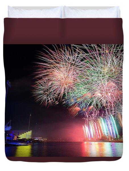 Boathouse Fireworks Duvet Cover