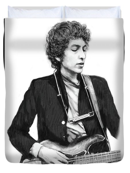 Bob Dylan Drawing Art Poster Duvet Cover by Kim Wang
