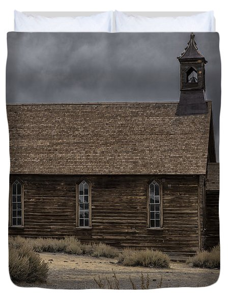 Duvet Cover featuring the photograph Stormy Day In Bodie State Historic Park by Sandra Bronstein