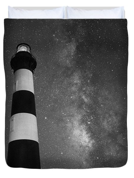 Bodie Island Lighthouse Milky Way Bw Duvet Cover
