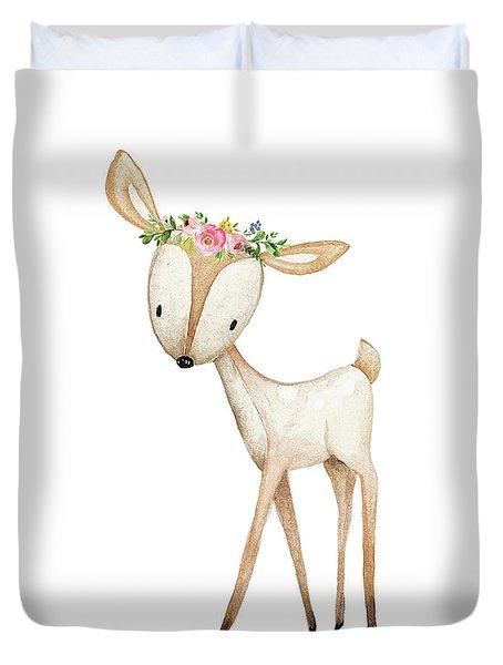 Boho Woodland Baby Nursery Deer Floral Watercolor Duvet Cover