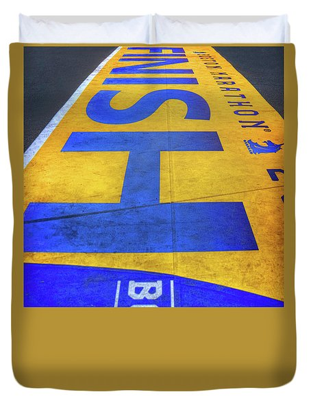 Duvet Cover featuring the photograph Boston Marathon Finish Line by Joann Vitali
