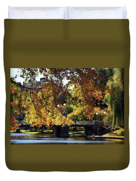 Duvet Cover featuring the photograph Boston Public Garden - Lagoon Bridge by Joann Vitali
