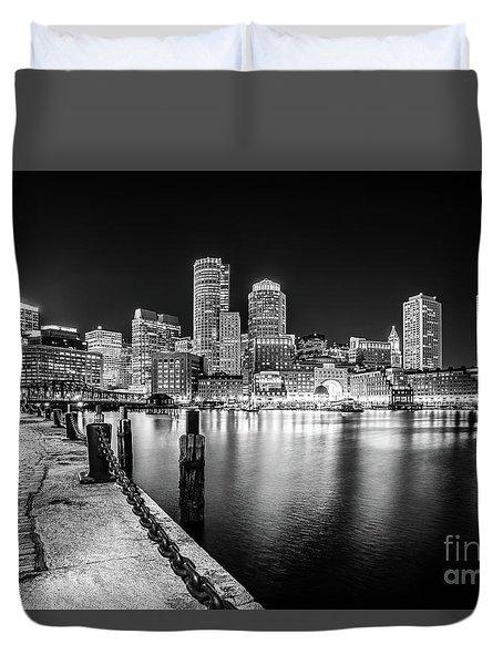 Boston Skyline At Night Black And White Photo Duvet Cover