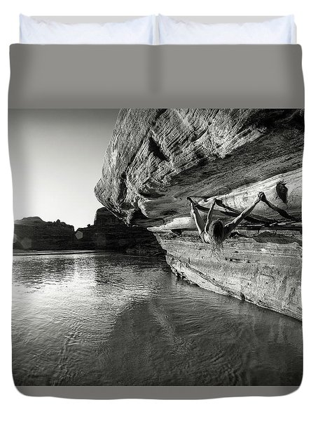 Bouldering Above River Duvet Cover