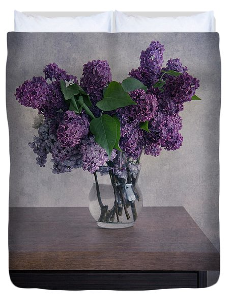Duvet Cover featuring the photograph Bouquet Of Fresh Lilacs by Jaroslaw Blaminsky