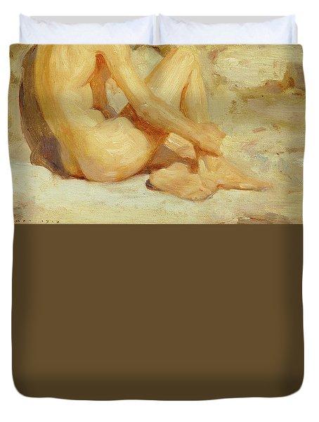 Boy On A Beach Duvet Cover by Henry Scott Tuke