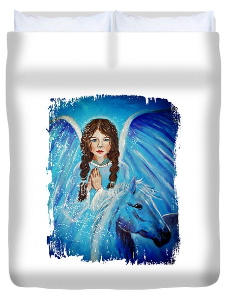 Brianna Little Angel Of Strength And Courage Duvet Cover by The Art With A Heart By Charlotte Phillips