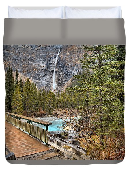 Duvet Cover featuring the photograph Wooden Bridge To Takakkaw Falls by Adam Jewell